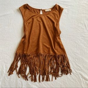 Altar'd state brown fringe tank top